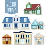 Комплект домов коттеджа вектора Стоковое фото RF