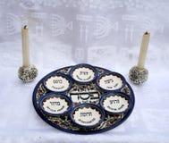 комплект еврейской пасхи тарелок Стоковое Изображение