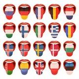 Комплект европейских значков вектора языков