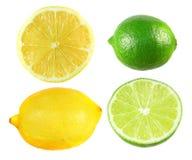 Комплект желтого лимона и зеленой известки изолированных на белизне Стоковое фото RF