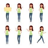 Комплект женщины, девушки в вскользь одеждах в различных представлениях Характер для вашего дизайн-проекта Иллюстрация вектора в  Стоковое Фото