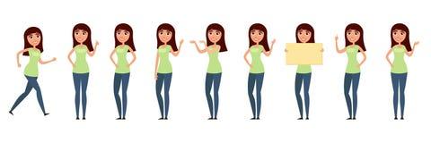 Комплект женщины, девушки в вскользь одеждах в различных представлениях Характер для вашего дизайн-проекта Иллюстрация вектора в  Стоковые Фотографии RF