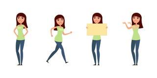 Комплект женщины, девушки в вскользь одеждах в различных представлениях Характер для вашего дизайн-проекта Иллюстрация вектора в  Стоковое Изображение