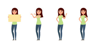 Комплект женщины, девушки в вскользь одеждах в различных представлениях Характер для вашего дизайн-проекта Иллюстрация вектора в  Стоковые Изображения RF