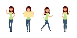 Комплект женщины, девушки в вскользь одеждах в различных представлениях Характер для вашего дизайн-проекта Иллюстрация вектора в  Стоковые Фото