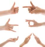 комплект жеста изолированный рукой Стоковая Фотография RF