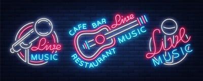 Комплект живой музыки неоновых вывесок vector логотипы, плакат, эмблема для фестивалей живой музыки, бары музыки, караоке, ночные иллюстрация вектора