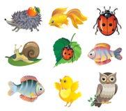 Комплект животных вектора милых Стоковые Фото