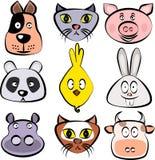 комплект животных милый Собака, кот, свинья, медведь панды, цыпленок, кролик зайчика, бегемот, лиса, корова смотрит на Шаблон век иллюстрация вектора