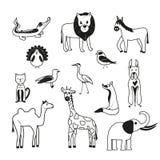 Комплект животных на белой предпосылке иллюстрация штока