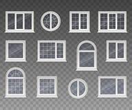 Комплект закрытого квадрата, прямоугольный, кругом и сдобренных окон с прозрачным стеклом в белой рамке Изолированный на прозрачн Стоковая Фотография RF