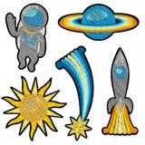 Комплект заплаты вышивки космоса Стоковые Изображения RF