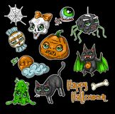 Комплект заплат элемента хеллоуина: тыква, череп, паук, шлам, кот, летучая мышь, косточка Собрание значка хеллоуина Стоковая Фотография