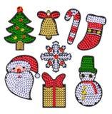 Комплект заплат christmases с sequins Стоковое Изображение