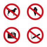 Комплект запрета подписывает на входе к магазину или магазину Позволенные значки: отсутствие собак, мороженого, куря, коньков, ве иллюстрация штока