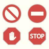 Комплект запрещающих дорожных знаков Остановите, никакой вход, блок руки вектор иллюстрация штока