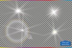Комплект звезд светового эффекта зарева разрывает с sparkles на прозрачной предпосылке Для искусства шаблона иллюстрации Стоковое фото RF