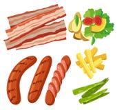 Комплект здоровой предпосылки белизны еды иллюстрация штока