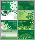 комплект зеленого цвета визитных карточек Стоковое фото RF