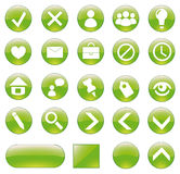 комплект зеленого цвета кнопок Стоковое Изображение