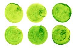 Комплект зеленой руки акварели покрасил круг изолированный на белизне Иллюстрация для художнического дизайна Круглые пятна, шарик Стоковая Фотография RF