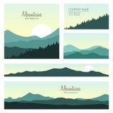 Комплект зеленых гор и предпосылок леса Стоковые Изображения