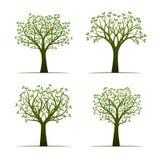 Комплект зеленых деревьев с листьями также вектор иллюстрации притяжки corel Стоковое Фото