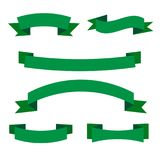 Комплект зеленых знамен ленты Собрание элементов переченя eco иллюстрация вектора