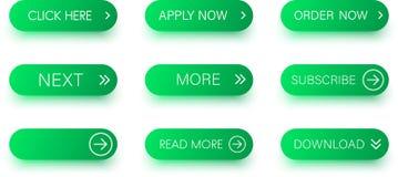 Комплект зеленых значков изолированных на белизне Стоковые Фото