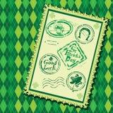 Комплект зеленых избитых фраз grunge с кружкой пива Стоковое фото RF