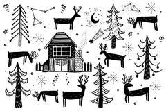 Комплект зимы леса вектора нарисованный рукой Элементы для дизайна сосны рождества, спруса, оленя, forester дома Doodle тип бесплатная иллюстрация