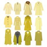 Комплект зимы осени моделирует женское пальто также вектор иллюстрации притяжки corel Стоковое Изображение RF