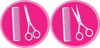 Комплект знака салона волос с ножницами и гребнем Стоковые Фотографии RF