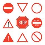 Комплект знаков стопа дороги, плоская изолированная иллюстрация вектора Стоковая Фотография RF