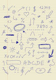 Комплект знаков doodle Стоковое фото RF