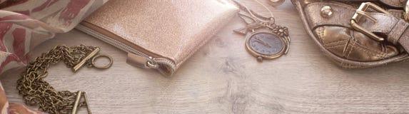Комплект знамени аксессуаров моды для женщин Стоковые Фотографии RF