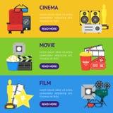 Комплект знамени кино шаржа горизонтальный вектор Стоковая Фотография RF