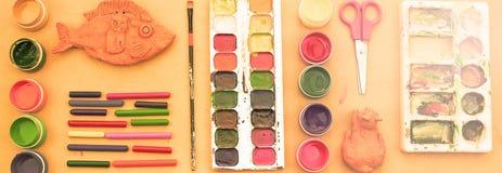 Комплект знамени a материалов для хобби творческих способностей и чертежа Стоковое Изображение