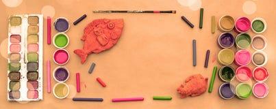 Комплект знамени a материалов для хобби творческих способностей и чертежа Стоковое Изображение RF