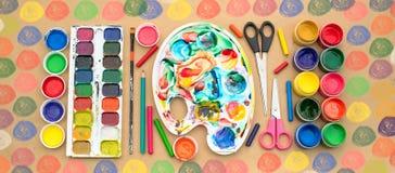 Комплект знамени a материалов для хобби творческих способностей и чертежа Стоковые Изображения