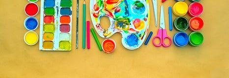 Комплект знамени a материалов для хобби творческих способностей и чертежа Стоковые Изображения RF