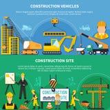 Комплект знамени 2 рабочий-строителей иллюстрация вектора