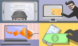 Комплект знамени Phishing, стиль шаржа бесплатная иллюстрация