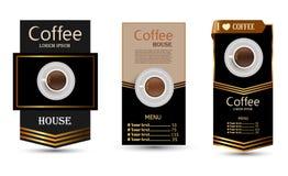 Комплект знамен вектора с кофе иллюстрация вектора