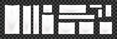 Комплект знамен сети нормального размера Шаблон знамени ткани вертикального, горизонтального и квадратного шаблона белый иллюстрация штока