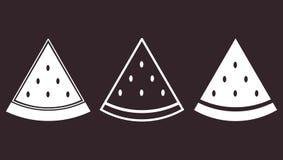 Комплект значка арбуза части плоского Стоковое Фото