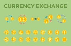 Комплект значка вектора валютной биржи бесплатная иллюстрация