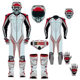 Комплект значка вектора костюма мотоцикла плоский Стоковое Фото