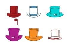 Комплект значка верхней шляпы, стиль плана цвета иллюстрация вектора