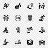 Комплект значка взяточничества, простой стиль иллюстрация вектора